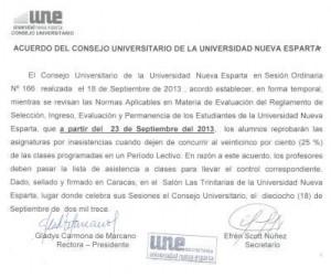 Acuerdo del Consejo  Universitario